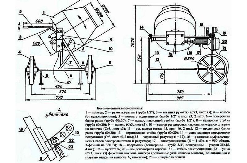 Схема устройства бетономешалки