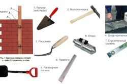Инструменты для кладки стен: кельма, молоток-кирка, расшивка, шнур, отвес, уровень, правило, растворная лопата.