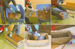Изготовление клумбы из бетона: 1-2. подготовка бетона, 3. подготовка формы, 4-5. заливка бетона в форму, 6. готовый вазон.
