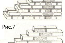 Виды кирпичных кладок: Рис.6 кладка в один кирпич; Рис.7 кладка в полкирпича.