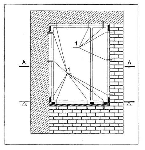 Схема расположения точек крепления коробки оконного блока в стеновом проеме