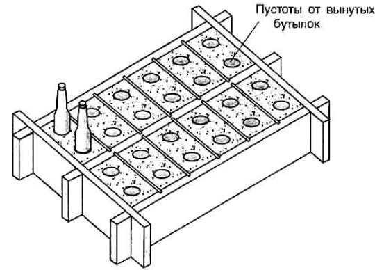Для того, чтобы блоки были легкими, в формы с залитой смесью нужно вставить пустые стеклянные бутылки.