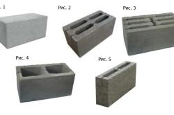 Виды керамзитобетонных блоков: Рис. 1 блок стеновой полнотелый; Рис. 2 блок стеновой 4-х щелевой; Рис. 3 блок стеновой 7-ми щелевой; Рис. 4 блок стеновой двух пустотный; Рис. 5 блок перегородочный 2-х пустотный.
