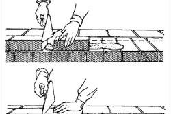 Схема нанесения и укладки раствора на пенобетонные блоки
