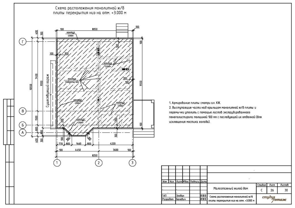 схема расположения плиты