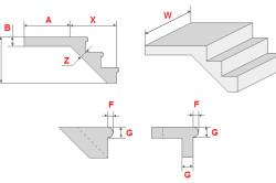 Расчет прямой лестницы из бетона: X - длина лестницы; Y - высота лестницы; W - ширина лестницы; A - длина площадки; В - толщина площадки; Z - дополнительная толщина; F - выступ ступеней; G - толщина ступеней.