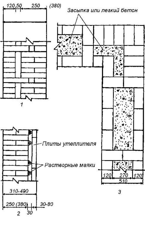 Схема стены из арболита