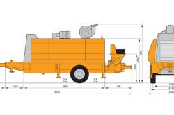 Схема размеров стационарного бетононасоса.