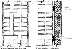 Схема кладки из ракушняка с утеплителем