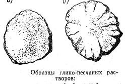 Схема образцов глиняного раствора