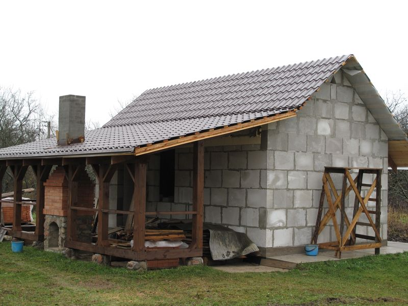 Баня, построенная из газосиликатных блоков