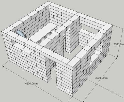 Схема бани из газосиликатных блоков
