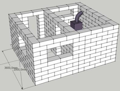 Схема - проект бани из газобетона