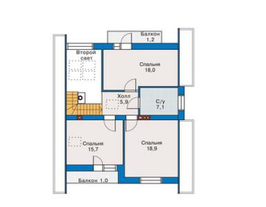 Схема - план мансардного этажа дома из пеноблоков с мансардой