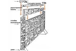 Схема монтажа декторативного забора из бетона.