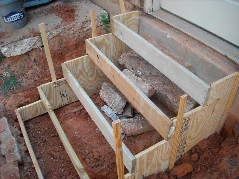 Как сделать бетонные ступени крыльца